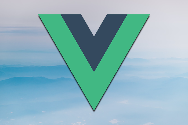 The Vue logo against a blue background.
