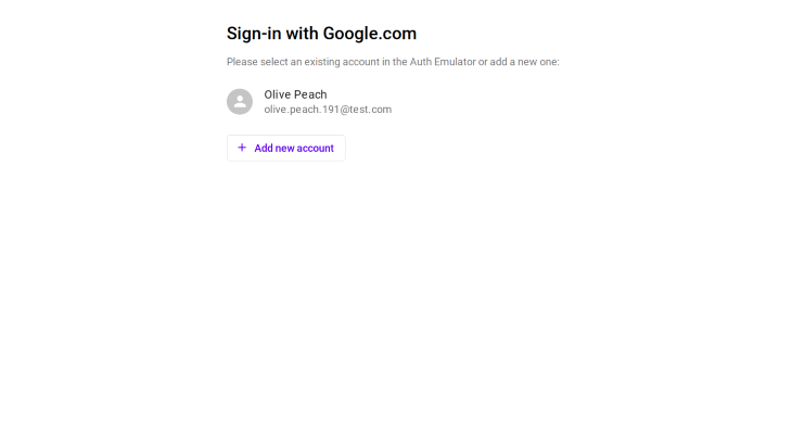Authentication Emulator Sign-in on Google
