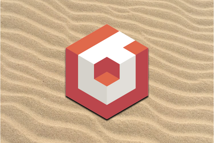 The Babylon.js logo against a background of sand.