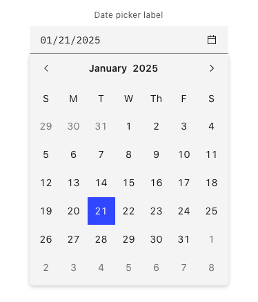 carbon design systems date picker