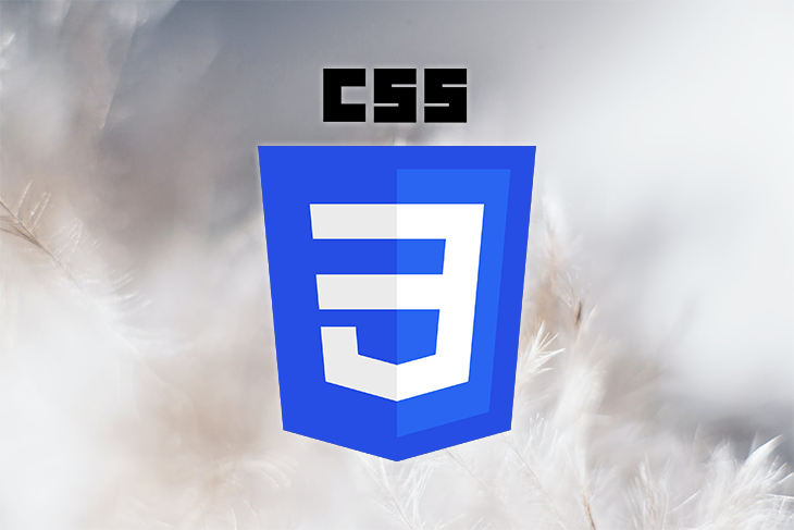 CSS Logo Over a Background of Feathers