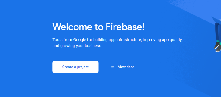 Firebase Create a Project Button