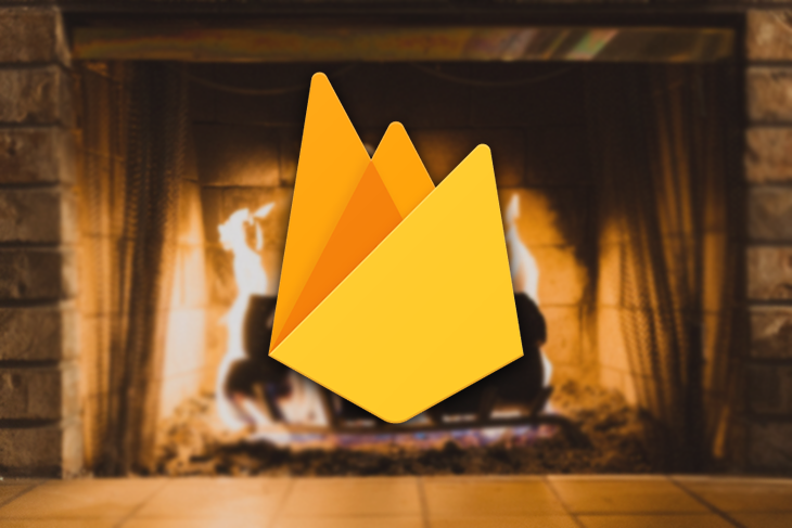 Firebase Logo in Front of a Fireplace