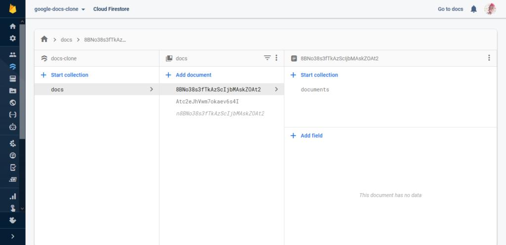 Our Firebase datastore.