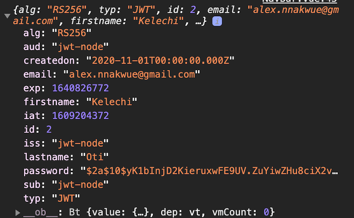 The JWT Payload for the Currently Authenticated User