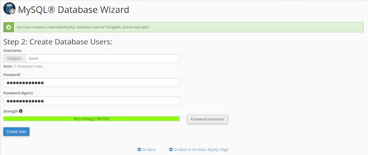 MySQL Database Wizard: Create Database Users