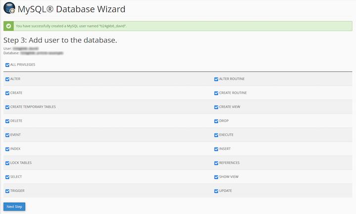 MySQL Database Wizard: Add Database Users