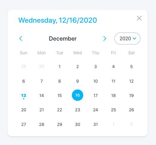 Rainbow components Date Picker