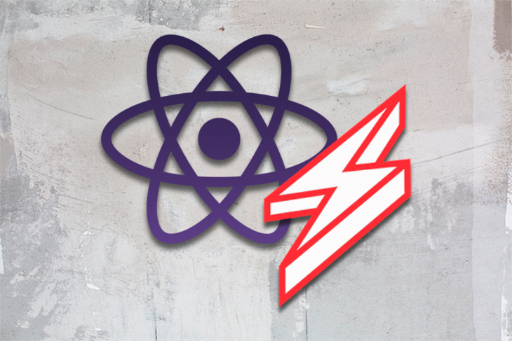 React Logo Over a Gray Background