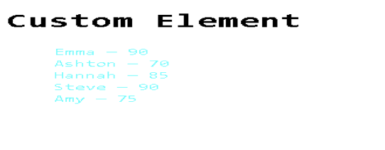 custom element with template tag