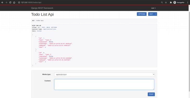 Todo List API View
