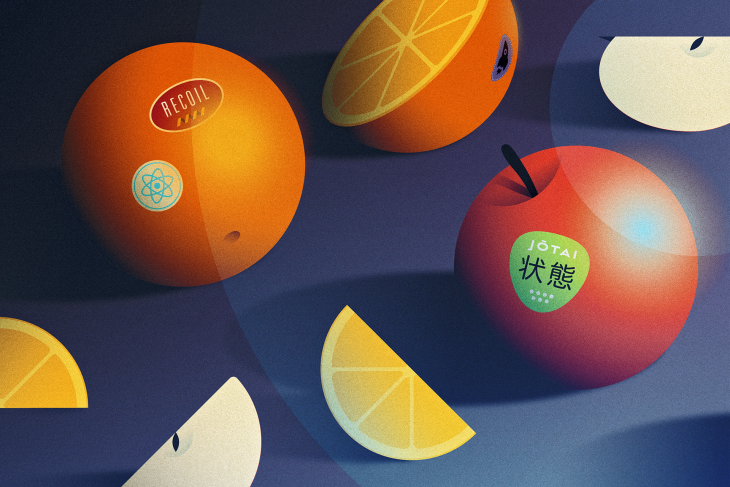 Citrus fruits on a blue table.