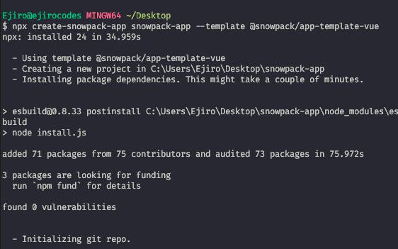 Create Snowpack App CSA official template vue