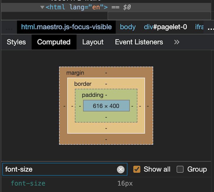 Default browser size pixels in DevTools