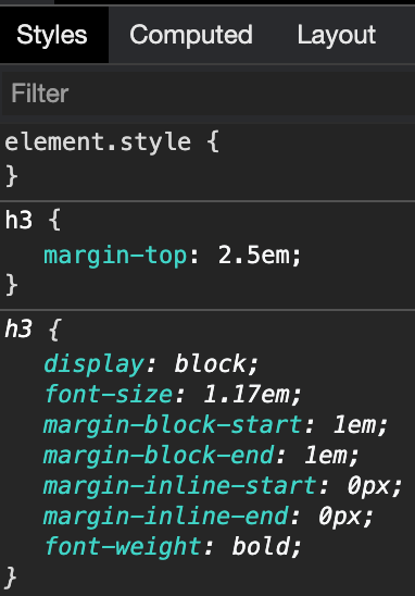 Element derived value in CSS visual