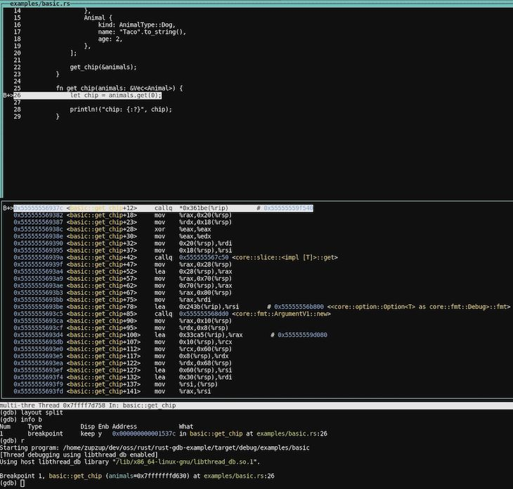 GDB Layout Split Visual