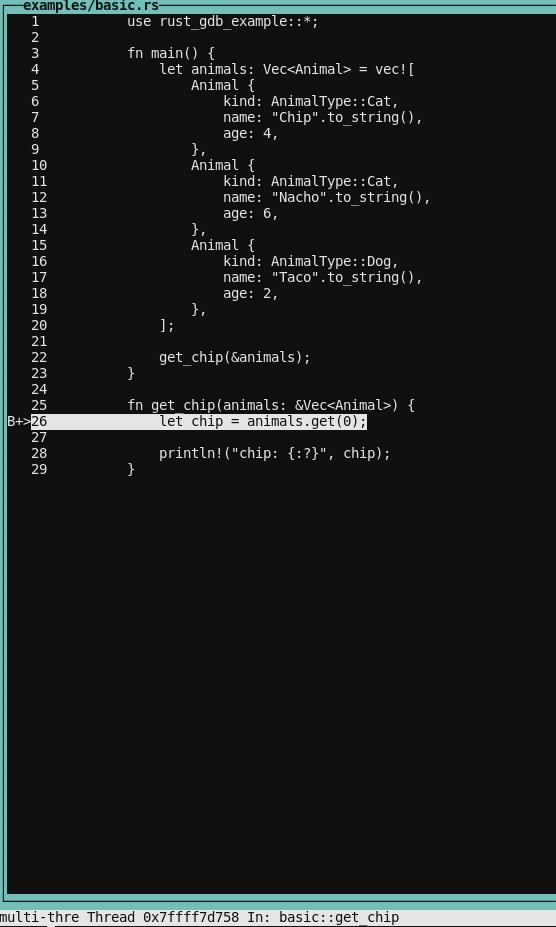 Layout GDB SRC Command Line Interface