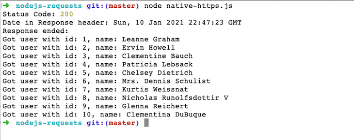 Output of node native code