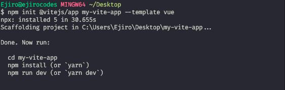 Scaffold Vite Vue using the CLI App Commands