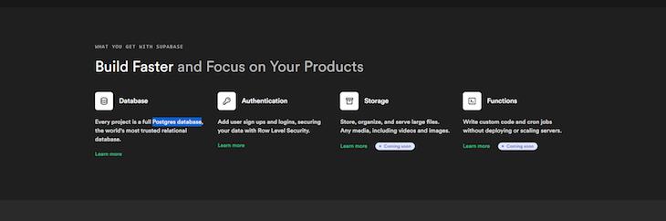 Supabase Product Selection-Database-Authentication Storage Functions