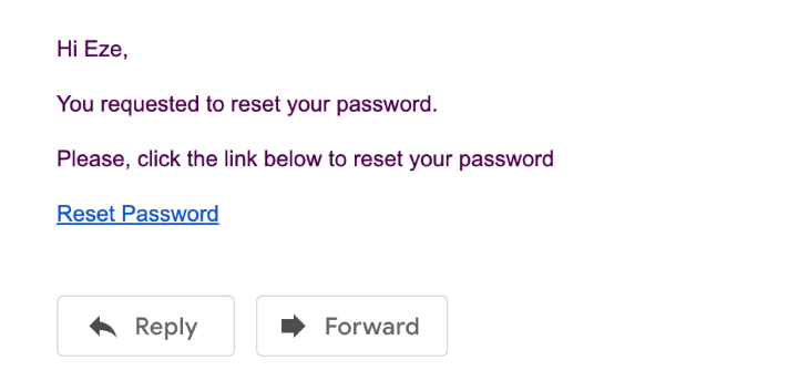 Email Confirmation for Password Reset