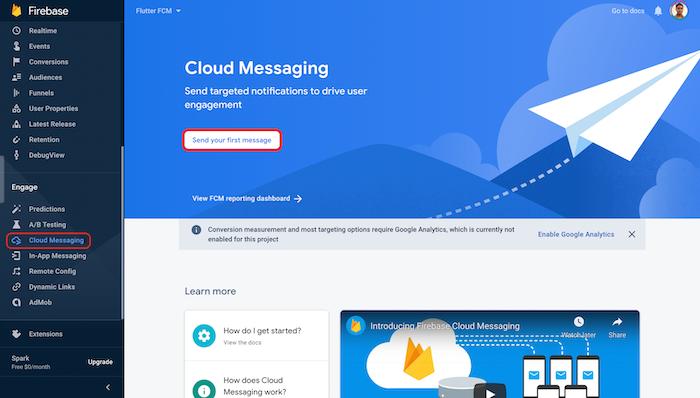 Firebase and Flutter Cloud Messaging