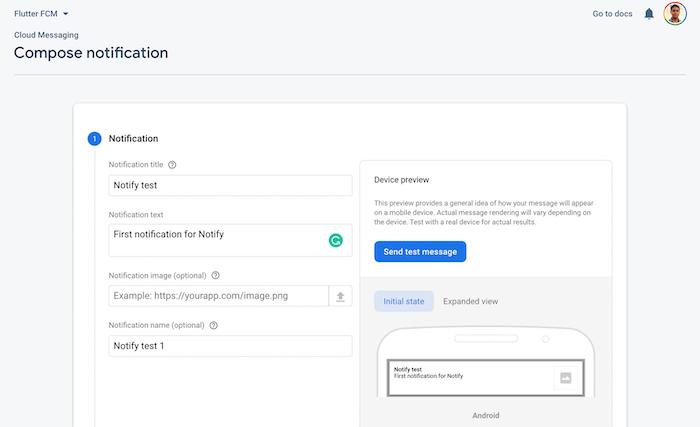 Firebase and Flutter FCM: Compose Notification