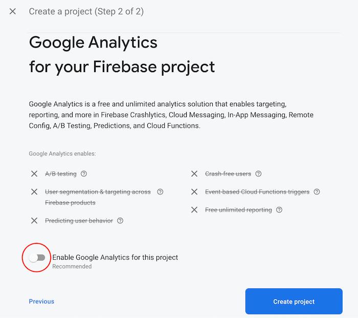 Disable Google Analytics in Firebase