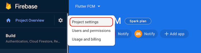 Firebase Project Settings