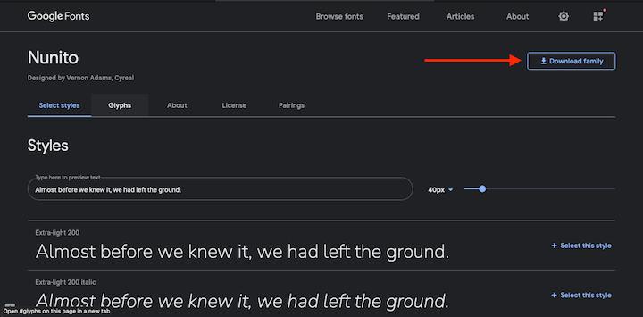 Nunito in Google Fonts