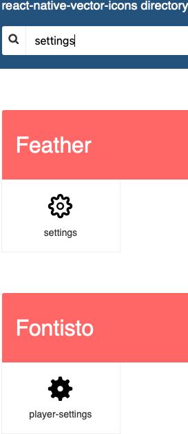 React Native Icon Search