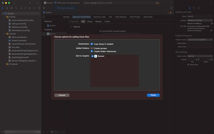 Firebase Flutter FCM Xcode Project Directory