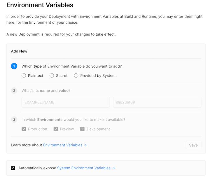 Configuring Environmental Variables Vercel Dashboard
