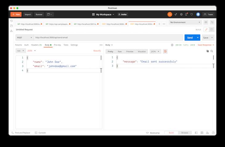 Single Function Response HTTP Method Postman