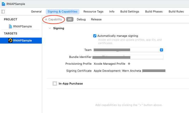 Add In-app Purchase Capability