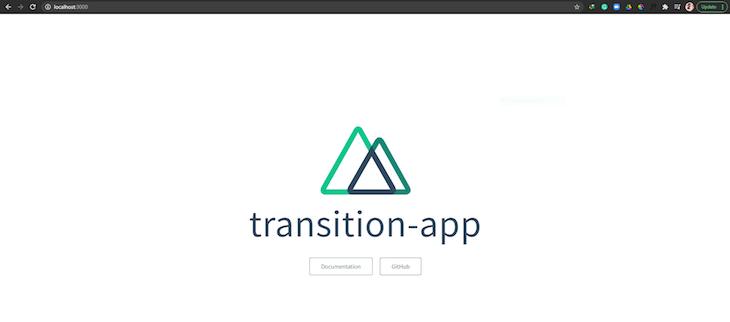 App Running Localhost Display Transition App