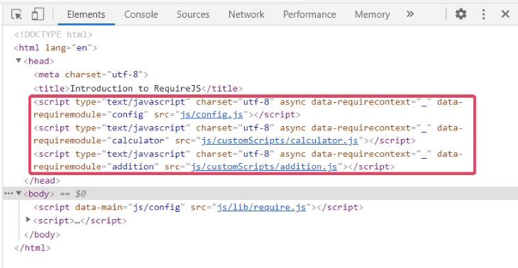 Browser Developer Tools Script Tag