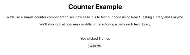 Counter App Example With button Clicked Three Times