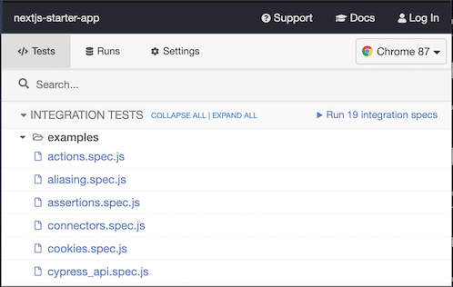 Cypress Test Suite Example Tests