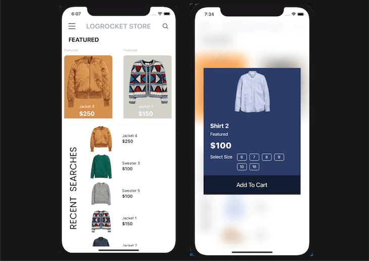 Ecommerce Mobile App Finished Display