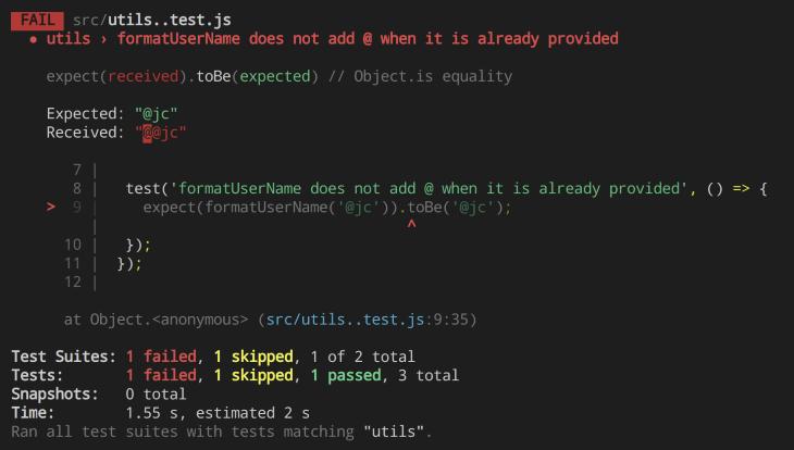 Failed Test Output