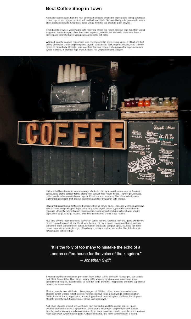 Final Full Bleed Layout CSS Grid Coffee Example