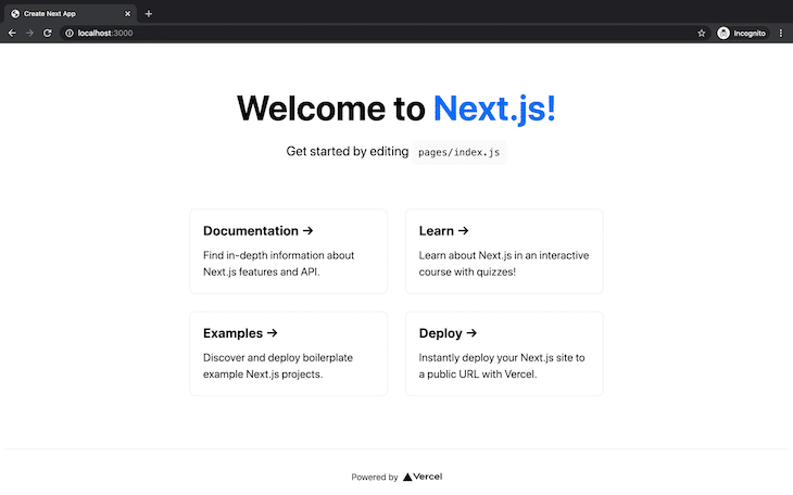 Generic Welcome Page Localhost