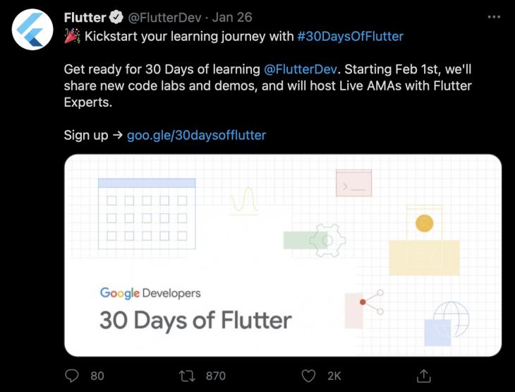 Flutter 2.0 announcement twitter