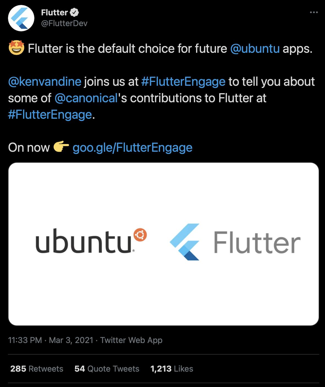 Flutter 2.0 Ubuntu announcement