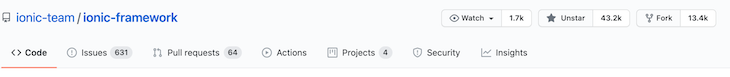 Ionic Framework GitHub Stats