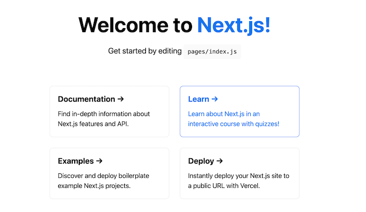 Nextjs Home Page Welcome
