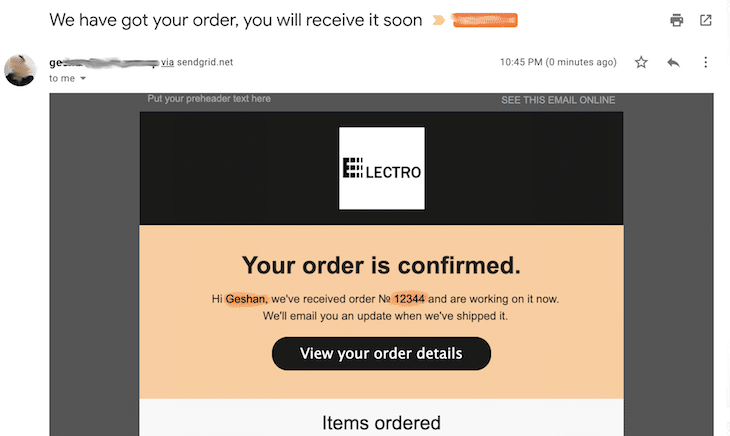 Order Confirmation Email Inbox