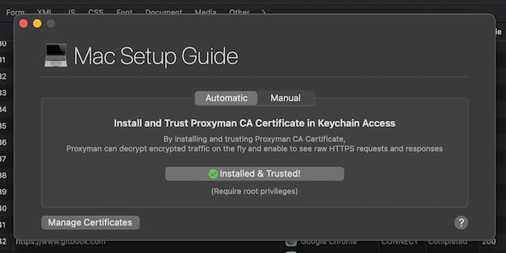 Proxyman CA Certificate Mac Install Guide
