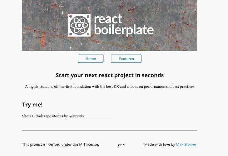 React Boilerplate Home